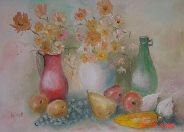 5.) Stilleben Blumen-Früchte / Still life flowers-fruits